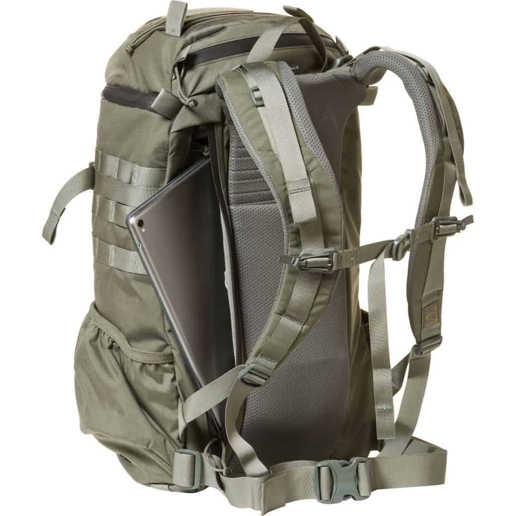 The Assault 2 Day pack has great features for the traveler - like easy access to the laptop.  At the same time, it is full of features - you can see the MOLLE, waist belt, and chest strap as well.