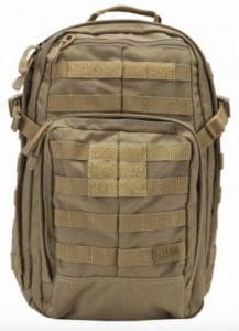 The 5.11 Tactical RUSH12 backpack is a 24L capacity backpack with MOLLE and 24L capacity.