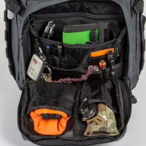 The 5.11 Tactical RUSH12 backpack is a 24L capacity backpack with MOLLE and lots of internal storage options.  Here we see some of the internal compartments.