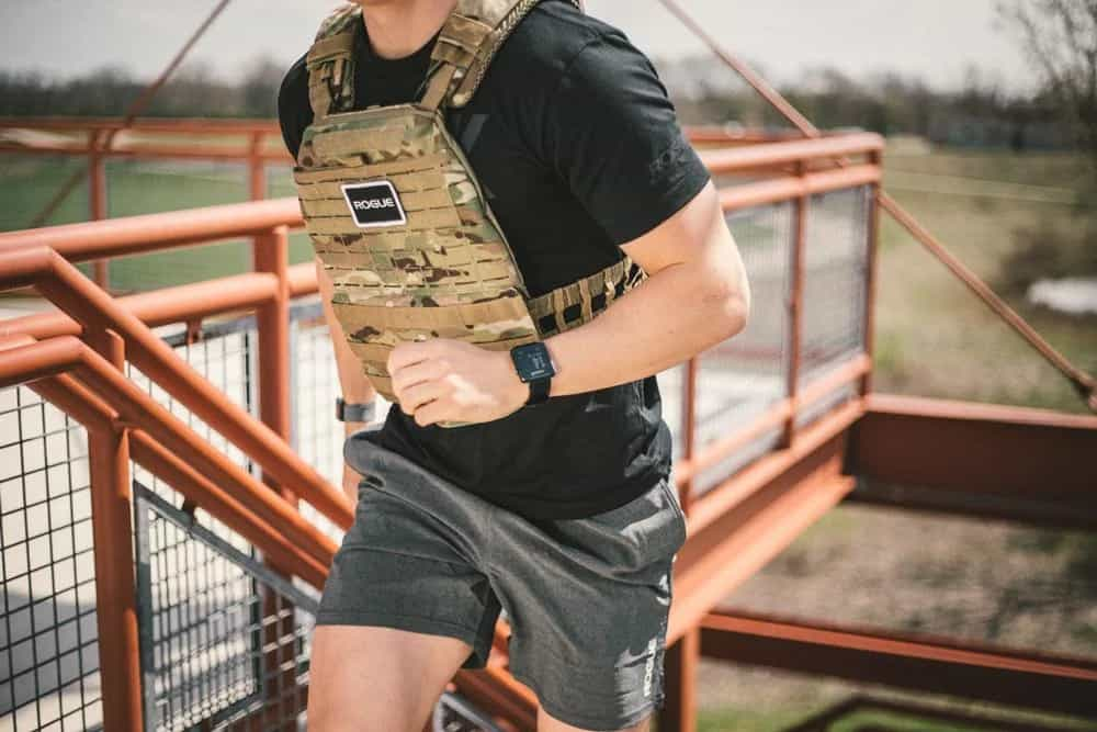 5.11 TacTec Plate Carrier in use by a CrossFit athlete for the Murph WOD.