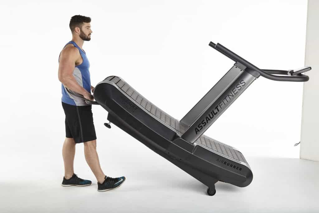 The Assault Fitness AirRunner is easy to move using the transport handle and built-in wheels.