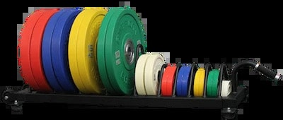 American Barbell Horizontal Rolling Bumper Storage full view with colorful plates