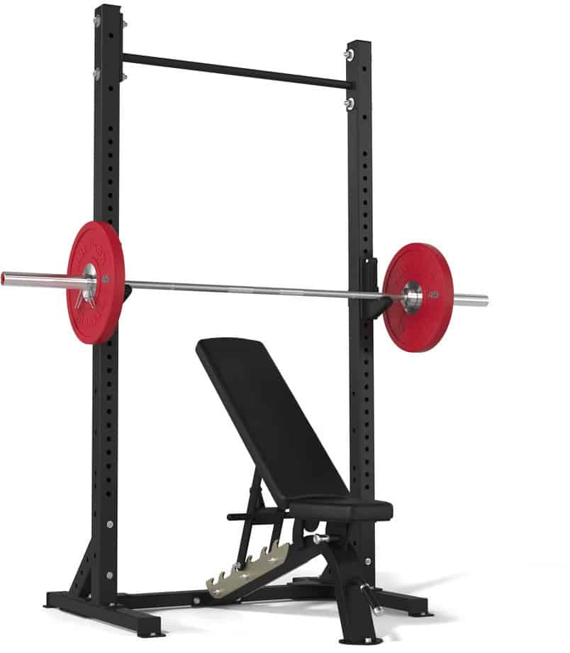 American Barbell Pull-Up Squat Stand with barbell