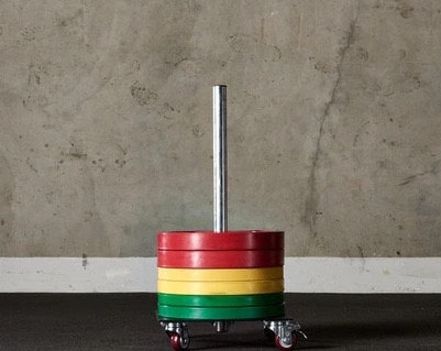 American Barbell Upright Rolling Bumper Storage full view with weights