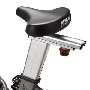 The exceptionally comfortable saddle (seat) on the Assault Fitness AirBike Elite
