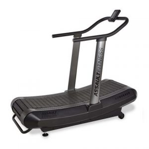 "Assault Fitness Air Runner Manual Treadmill - the lightest non-motorized treadmill available in 33"" width.  This view shows the handle and transport wheels for mobility"