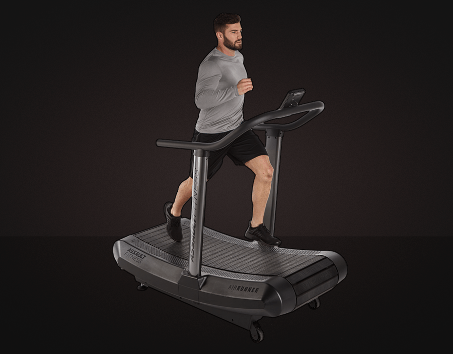 The Assault AirRunner Treadmill is an excellent version of the motorless treadmill. Here we see a runner on the treadmill.