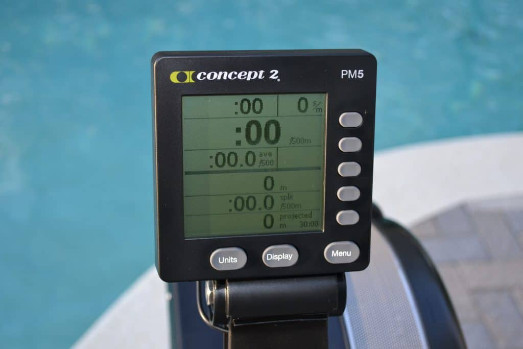 PM5 Electronic monitor of the Concept 2 Model D Indoor Rower - batteries are pre-installed and it comes mounted to the unit - for hassle free assembly.