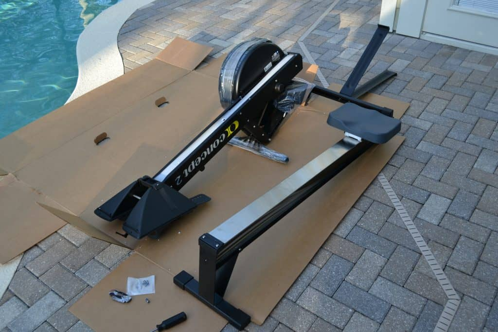 The 3 major components of the Concept 2 Model D Rower.