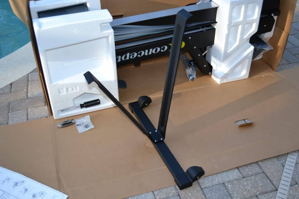 Support Leg of the Concept 2 Model D Indoor Rower - fully assembled and ready to be attached to the underside of the rower.