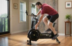 Concept2 BikeErg side view with user