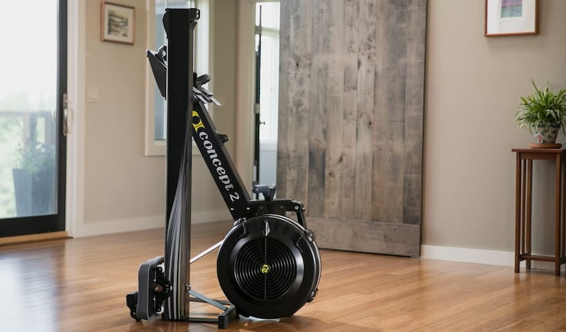 Concept 2 Model D Indoor Rowing machine - Compact storage, with caster wheels for mobility