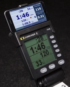 Photo showing a smart phone in the smartphone cradle on a Concept 2 rower