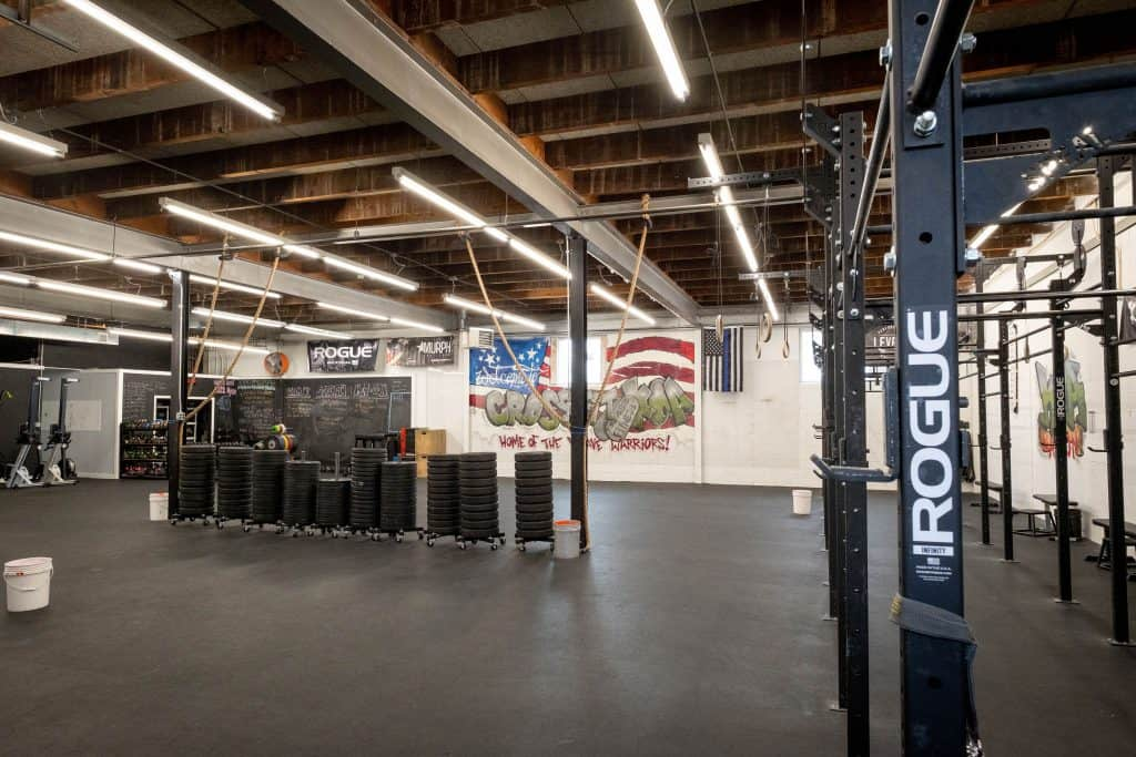 Rigs and bumper plates at CrossFit KOA in Mountainside, NJ