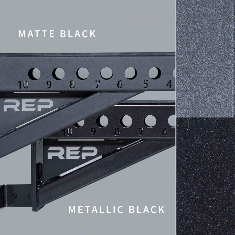 FB-5000 Wide Pad Bench - from Rep Fitness - Matte Black vs Mettalic Black