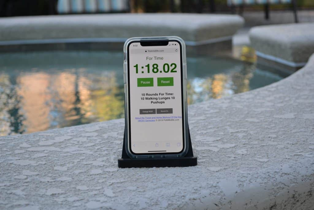 The Fit At Midlife Home and Travel WOD Generator works great on iPads, iPhones, and other devices like Android. Combine with an iPad and a simple tablet stand and you have a low-cost, effective, portal timing solution for fitness and exercise - anywhere!
