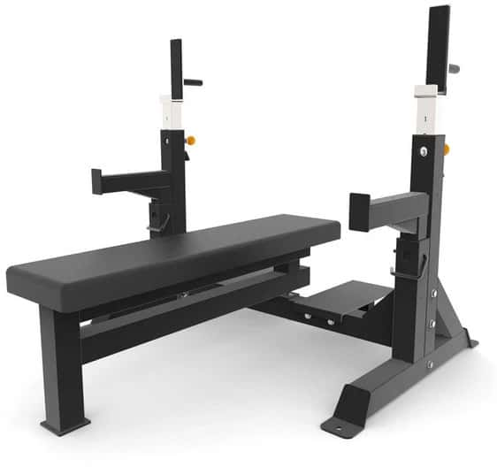 ForForce USA Commercial Heavy Duty IPF Spec Olympic Bench Press quarter left view-cropce USA Commercial Heavy Duty IPF Spec Olympic Bench Press quarter left view-crop