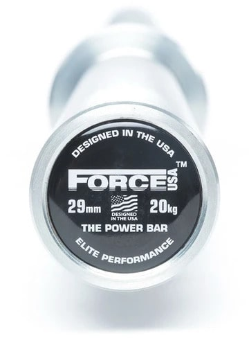 Force USA Powerlifting Barbell end view with logo-crop