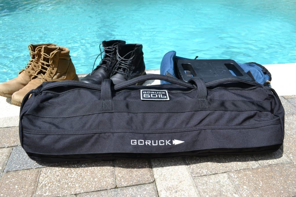 GORUCK sandbag review - GORUCK Sandbag in 60 lbs size with Bullet ruck and MACV-1 boots