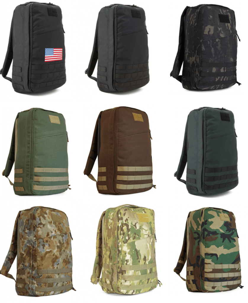 The GORUCK GR1 21L rucksack is available in these styles and colors for 2018