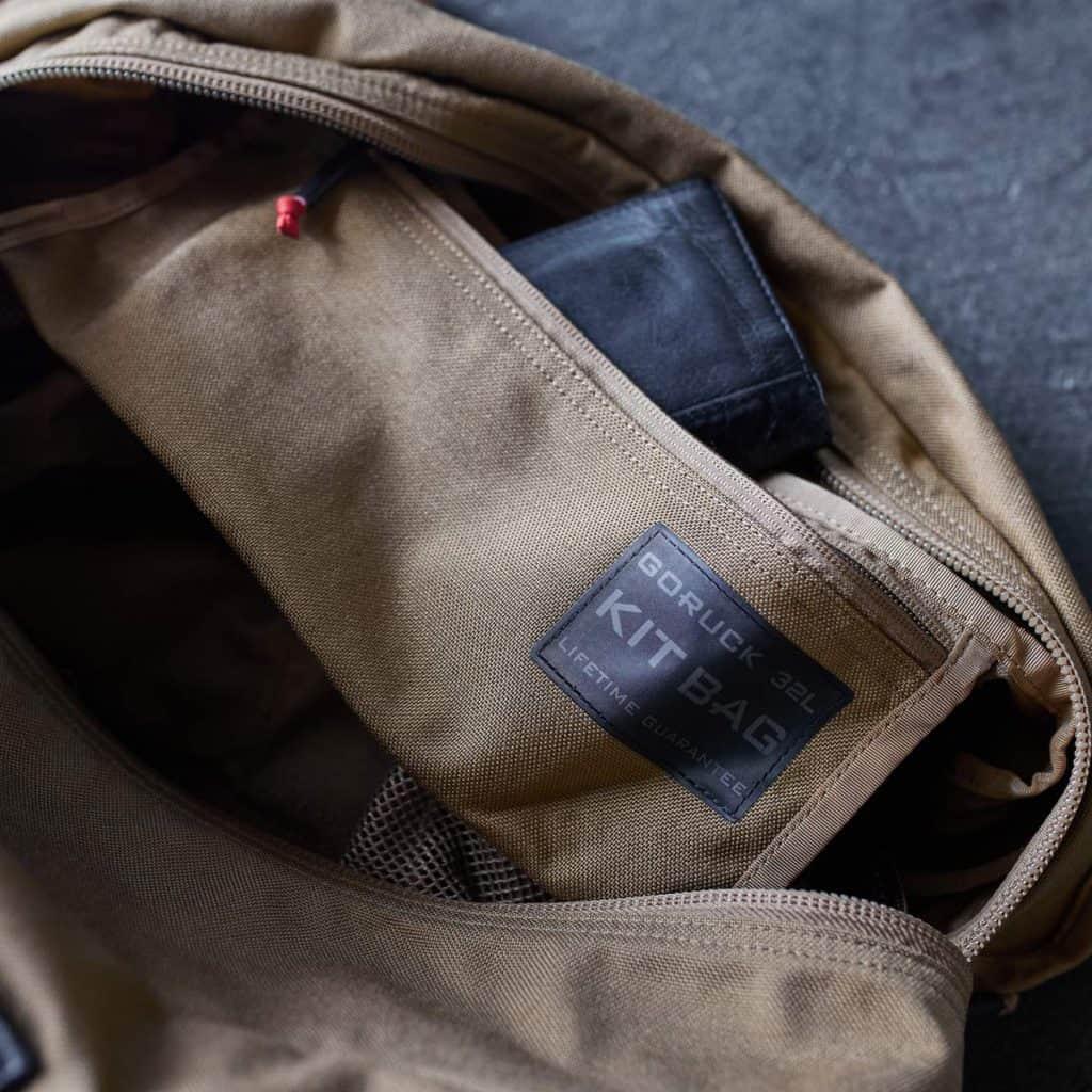 GORUCK Kit Bag Coyote Brown inside pocket