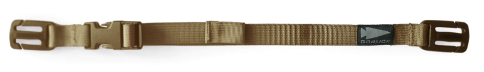 Removable sternum straps attach via clasps to the MOLLE webbing on the shoulder straps of a ruck for stabilization - in coyote brown color.