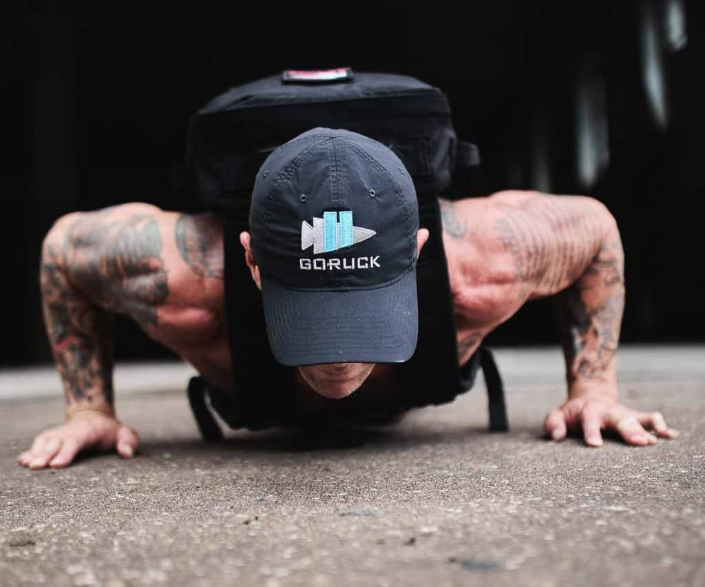 GORUCK Performance TAC Hat worn push up