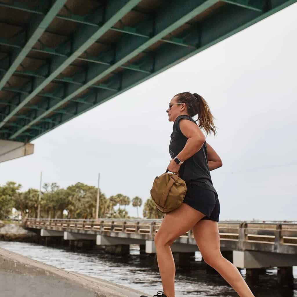 GORUCK Women's American Training Shorts worn during a rucking exercise