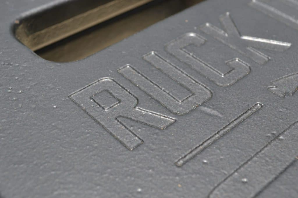 Closeup of finish on the Ruck Plate from GORUCK