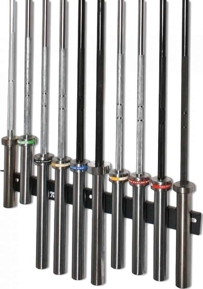 GetRX'd 10 Bar Vertical Rack with ten barbells