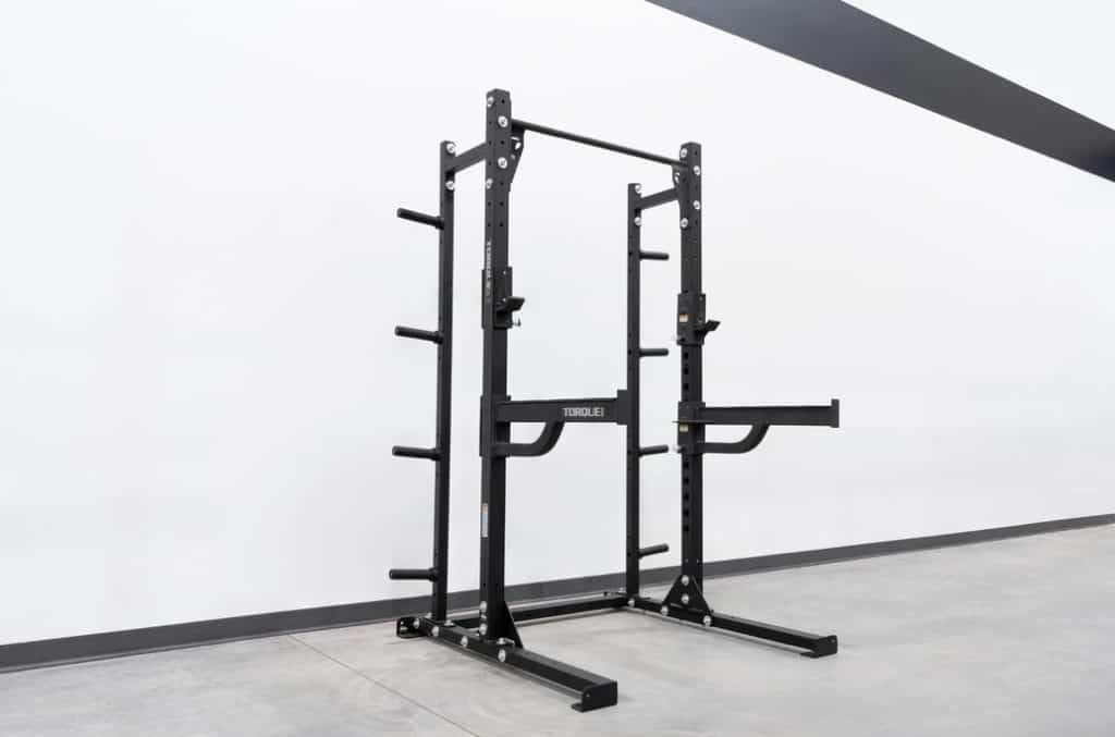 High Squat Rack with Storage and Spotter Arms quarter view right