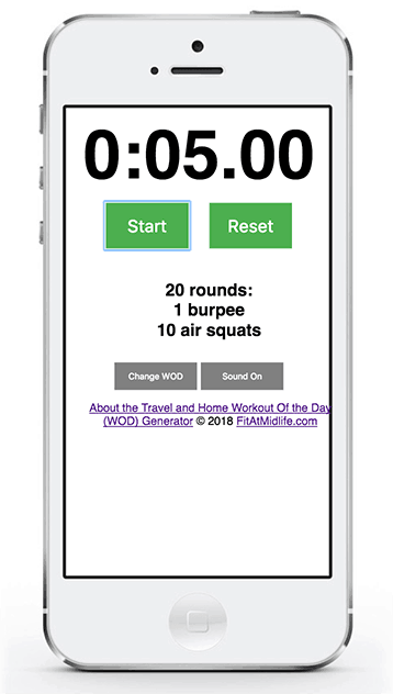 The FitAtMidlife Home and Travel WOD Generator works great on iOS - phone or tablet - as well as Android