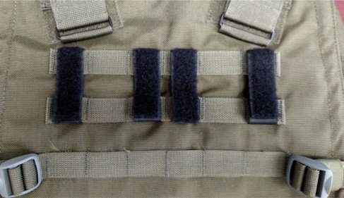MOLLE PANEL ACCESSORIES Del Molle Strips for Attaching Tactical ID Patches - for 3-inch high patches - 4-count - Black