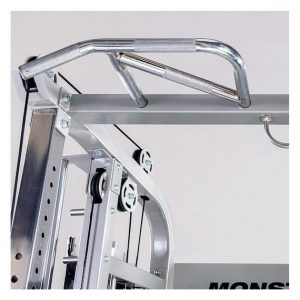 The ergonomic multi-grip pull-up bar of the Monster G6 Power Rack, Functional Trainer & Smith Machine Combo