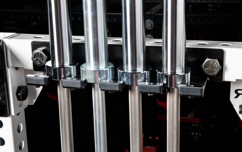 Monster Rack Mount 4 Bar Hanger with four barbells