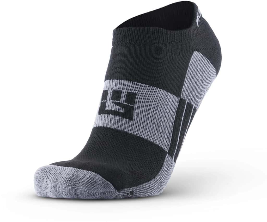 MudGear No-Show Running Socks - Black Gray left