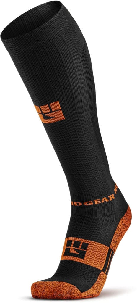 MudGear Tall Compression Socks Black Orange side view left