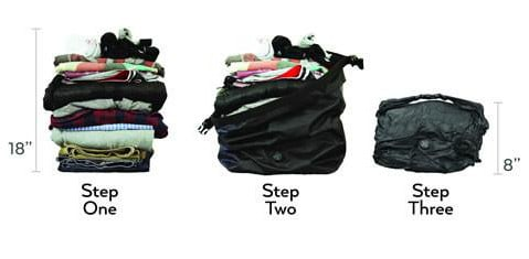 The NOMATIC Vaccuum bag helps make more space in your ruck - by compressing out all the air - fit more in the same space.