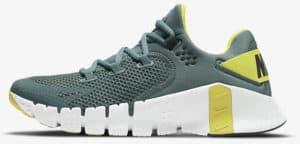 Nike Free Metcon 4 Hasta White Bright Citron Dark Smoke Grey left side view