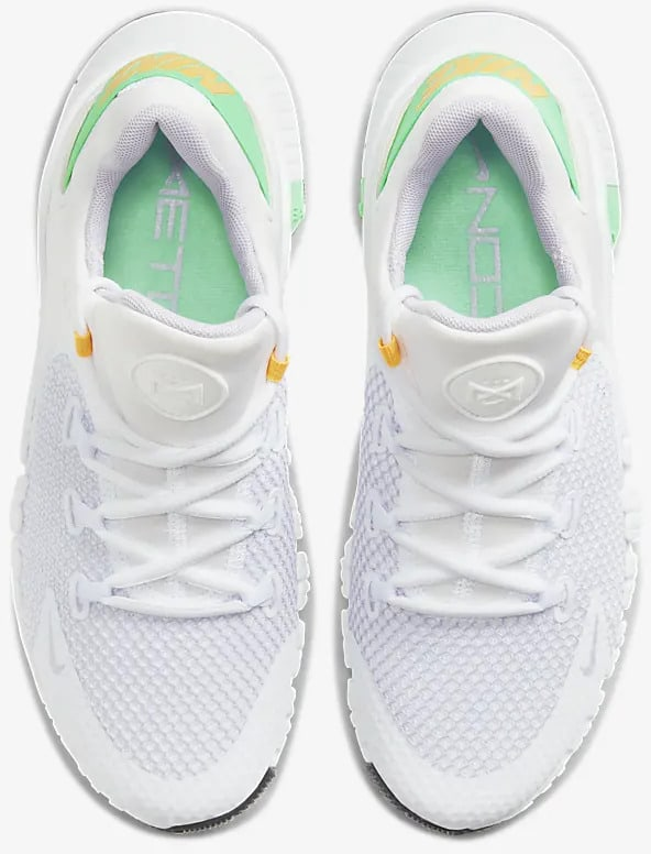 Nike Free Metcon 4 Women White Dark Smoke Grey Green top view pair