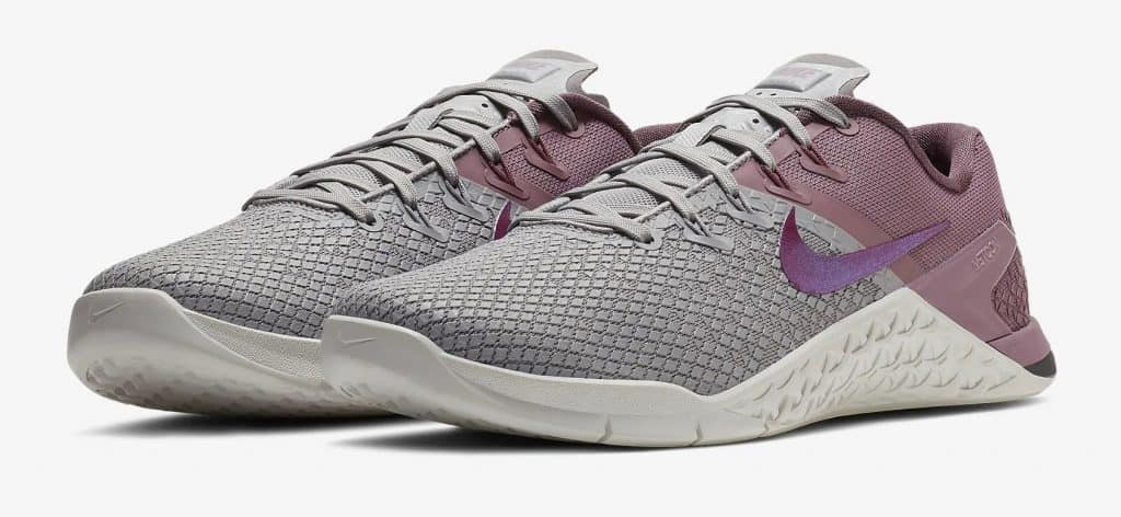 Best looking womens cross training shoe? The Nike Metcon 4 XD Womens - Right Side - Atmosphere Grey-Plum Dust-Summit White-True Berry-Cropped