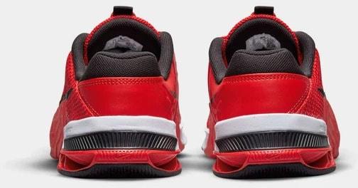 Nike Metcon 7 Men's Chile Red Black-Magic Ember-White back view pair