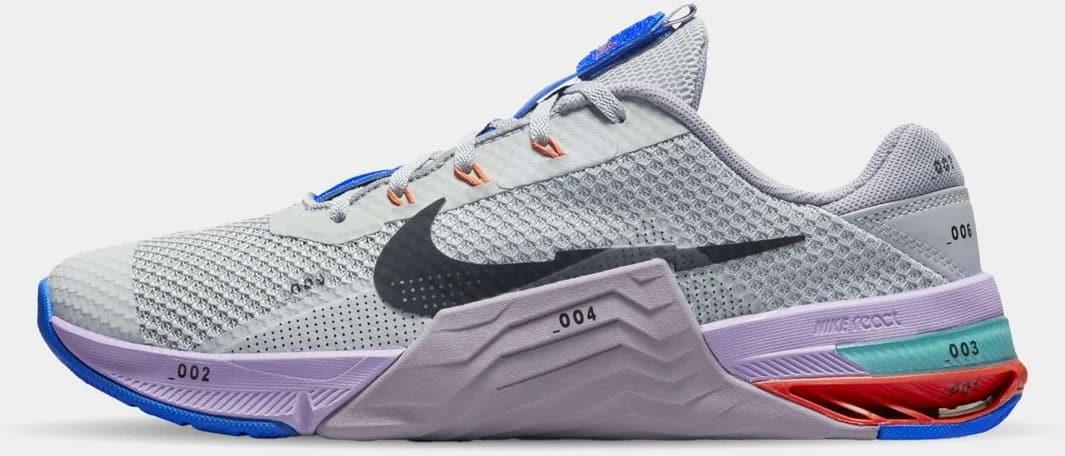 Nike Metcon 7 Women's LT Smoke Grey Black-Violet Haze-Lilac side view left