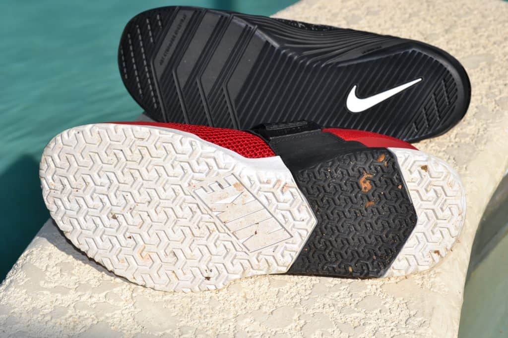Nike Metcon Sport has the most aggressive outsole tread pattern.