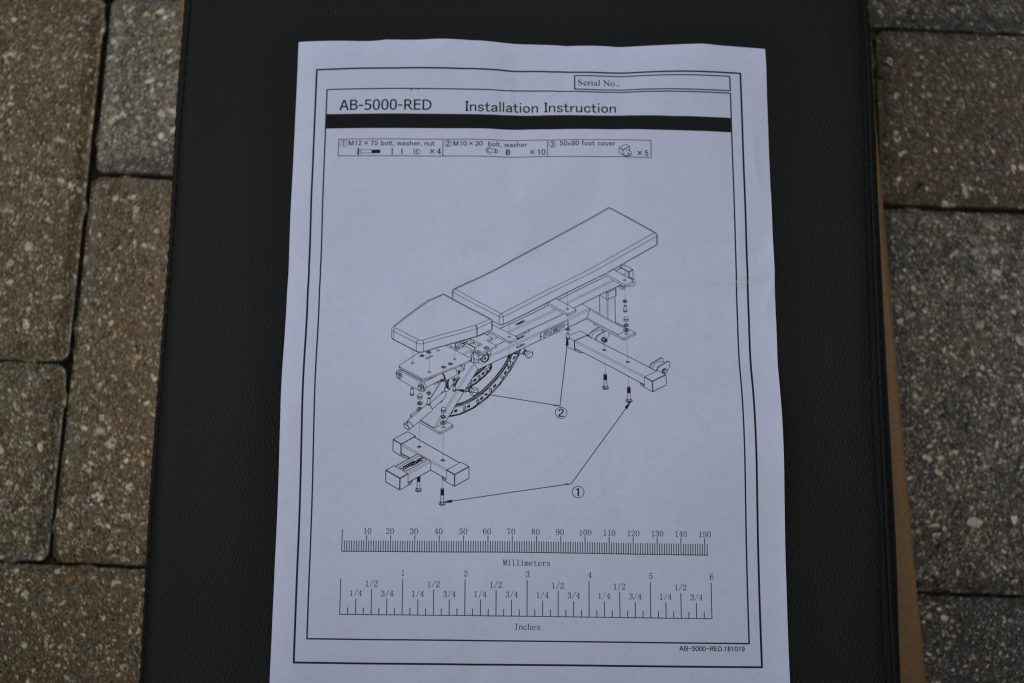 REP AB-5000 Adjustable FID Bench - One page of assembly instructions - short and to the point.