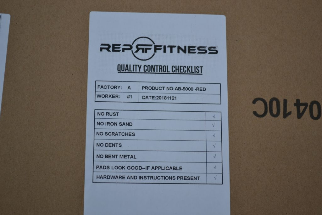 REP AB-5000 Quality Control checklist.