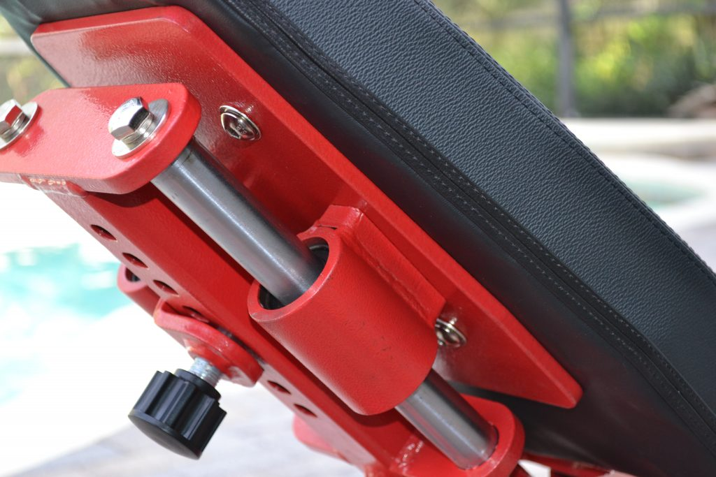 REP AB-5000 Adjustable Bench - Seat Pad close-up showing the Zero Gap adjustment knob.