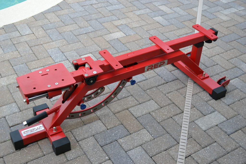 REP AB-5000 Adjustable Bench Frame with Support Feet attached.