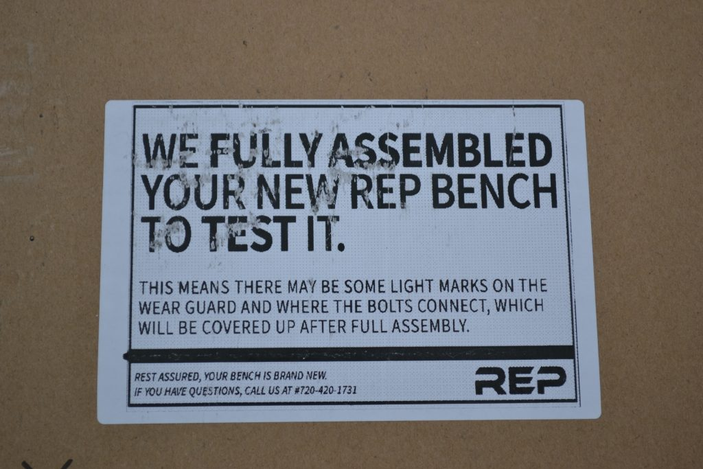 REP AB-5000 bench is fully assembled before leaving the factory - so you know it is gonna go together right.