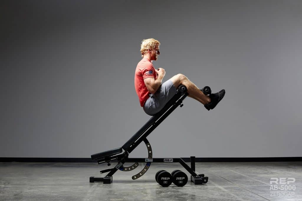 Use the Rep AB-5000 Adjustable Bench as a decline bench with the optional Leg Attachment - this makes it a full FID bench
